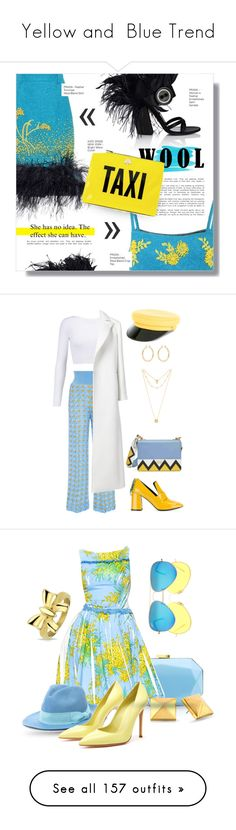 """""""Yellow and  Blue Trend"""" by yours-styling-best-friend ❤ liked on Polyvore featuring Prada, Trilogy, Kate Spade, feather, polyvorecommunity, wool, polyvorefashion, polyvorecontests, Coliàc Martina Grasselli and Pepa Pombo"""