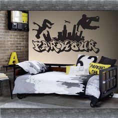 PARKOUR free running jumping urban style skate graffiti art wall sticker #Nikodemhouseofgifts