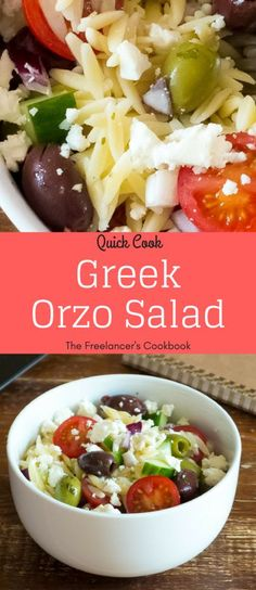 This Greek salad with orzo pasta is a perfect easy lunch or quick dinner for one. #freelancelife #orzosalad #vegetarianrecipe