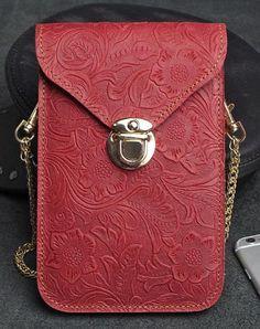 Handmade phone leather shoulder purse bag wallet flowral leather short wallet for men women