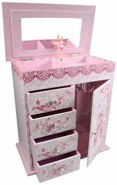 Kids Jewelry Ballerina Music Box Chest Trunk Drawer Cabinet Necklace Armoire Toy #Unbranded
