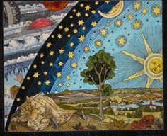Beyond the Horizon by Mary Ann Hildebrand (Texas).  Based on a woodcut  in Flammarions Book on Astronomy, late 1800's.  2009 Houston IQF, photo by Andrea Fox.