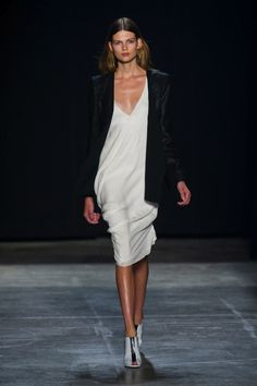 A must have in every closet.  White dress and a black boyfriend blazer.  Paired together and you have a sexy night out with the girls.  Narciso Rodriguez, spring 2013.