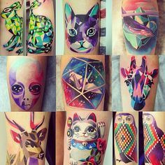 2017 trend Geometric Tattoo - Sasha Unisex Love the kitty, the bunny, the giraffe, the deer, and the owl!!...