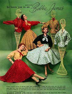 my vintage vogue (Bobbie James LTD 1950s Fashion Women, Vintage Fashion 1950s, Look Vintage, Vintage Vogue, Retro Fashion, Fifties Fashion, Ladies Fashion, Vintage Dresses, Anos 60