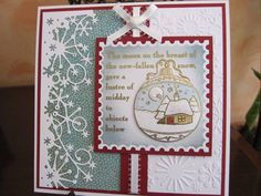 I like the postage stamp mounting. Clarity Stamps Bauble by Michele G - Cards and Paper Crafts at Splitcoaststampers Stamped Christmas Cards, Beautiful Christmas Cards, Christmas Cards To Make, Christmas Greeting Cards, Christmas Greetings, Christmas Themes, All Things Christmas, Christmas Crafts, Crafters Companion Christmas Cards