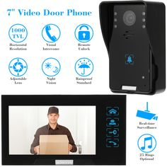"KKmoon 7"" TFT Video Door Phone Intercom Doorbell Touch Button Remote Unlock 1000TVL CMOS Night Vision Rainproof Security Camera"