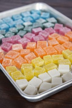 Homemade Gummy Candies: These look like the cubes that Kirk & Spock eat on Star Trek.
