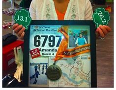 <3 this idea!  Create a shadow box with photos and memorabilia from my first half marathon.