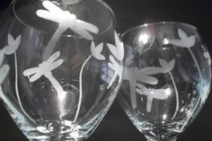 *Processing times are now SORTER than shown, in most cases, to get them to you SOONER for the holidays :) Contact me for specifics!* Woohoo!!This set of etched wine glasses feature flowers, and two different sized dragonflies around the glass. It is a simple design with a sweet and unique