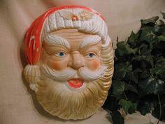 "Vintage 17"" Christmas Poloron Lighted Blow Mold Santa Face Yard/Wall Decoration"