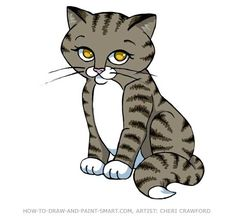 Learn how to Draw a cat! To draw a cartoon cat start with basic shapes and refine them. Create your own cat coloring pages. You can color your cat to be calico, tabby or any other breed you chose. You can make some funny cat pictures by changing the proportions.