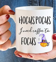 Hocus Pocus I need coffee to Focus.Halloween themed coffee mug. Cute Coffee Mugs, I Love Coffee, Coffee Cups, Coffee Coffee, Halloween Mug, Halloween Themes, Halloween Decorations, For Your Party, Hocus Pocus