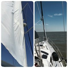 10-17-2015 We took her out and stretched her sails she sure is gorgeous soon sailing school will be under my belt and I will be the captain!