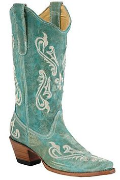 Corral Ladies Turquoise Cortez with Cream Fleur de Lis Snip Toe Western Boots