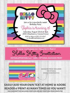 Hello Kitty Party Invite New Hello Kitty Printable Invitation Rainbow – Wonderbash Free Printable Invitations Templates, Printable Birthday Invitations, Party Invitations, Invitation Ideas, Invite, Printables, Birthday Greetings For Boyfriend, Happy Birthday Messages, Kitty Party