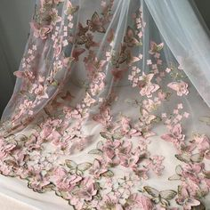 Pink and Multi-colored gold thread butterfly applique embroidered lace on off white tulle fabric for weddings, prom dress, costumes Tulle Fabric, Tulle Lace, Beaded Lace, Embroidered Lace, Bead Embroidery Patterns, Beaded Embroidery, Embroidery Fabric, Fabric Butterfly, Pink Butterfly