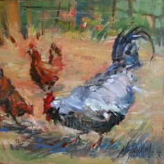 Pecking Order by Mary Maxam Oil ~ 8 x 8