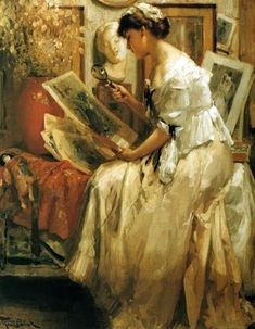 The Japanese Print (1913).Fernand Toussaint (Belgian 1873-1955). Oil on canvas.Toussaint received thorough formal academic training before leaving for Paris in 1891 where he completed his studies under the Belgian portraitist Alfred Stevens. It is Stevens' great influence that can be seen throughout the evolution of Toussaint's oeuvre. Toussaint was primarily known as a painter and watercolourist of female portraits, which he presented in a rich and elegant manner.
