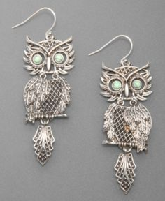 cute earrings. im all about owls i love them!