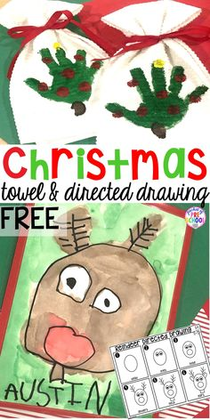 Christmas Handprint Towel and Reindeer Directed Drawing FREEBIE - Pocket of Pres. Christmas Handprint Towel and Reindeer Directed Drawing FREEBIE – Pocket of Preschool – Kindergarten Christmas Crafts, Christmas Activities For Kids, Christmas Drawing, Kids Christmas, Christmas Parties, Christmas Decor, Reindeer Drawing, Handprint Christmas Tree, Christmas Gifts For Parents