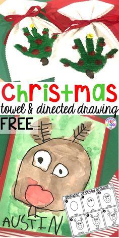 Christmas Handprint Towel and Reindeer Directed Drawing FREEBIE - Pocket of Pres. Christmas Handprint Towel and Reindeer Directed Drawing FREEBIE – Pocket of Preschool –