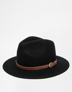b78882a22f3 ASOS+Fedora+Hat+In+Black+With+Faux+Leather+