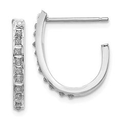 0.5IN Long 14k White Gold Diamond Fascination Round Hinged Hoop Earrings
