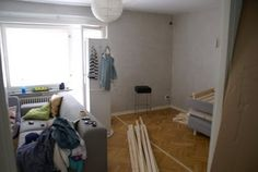 with a tight budget we couldn't afford anything bigger then a studio apartment. Make a room with PAX wardrobe sliding doors from Ikea Appartement Studio Ikea, Ikea Studio Apartment, First Apartment, Apartment Living, Apartment Ideas, Duplex Apartment, Sliding Cupboard, Sliding Doors, Cupboard Doors