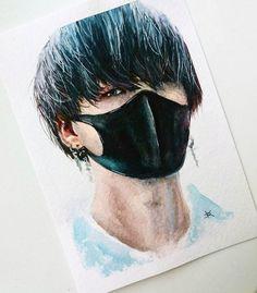 Omg so much tokyo ghoul feels Kpop Drawings, Arte Disney, Fan Art, Bts Chibi, Kpop Fanart, Bts Suga, Art Inspo, Art Sketches, Watercolor Art