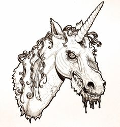 Zombie Unicorn Head by harperugby on DeviantArt Easy Drawing Steps, Step By Step Drawing, Tattoo Sketches, Art Sketches, Alligator Tattoo, Zombie Head, Unicorn Tattoos, Easy Drawings For Kids, Beautiful Unicorn