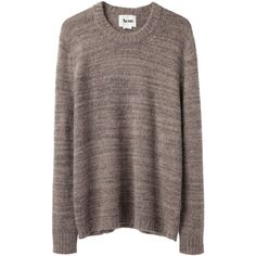 Acne Singer Knit Sweater (825 VEF) ❤ liked on Polyvore featuring tops, sweaters, shirts, jumpers, slim fit shirt, crew neck shirt, knit sweater, slim shirt and brown shirt