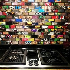Art of Board skate tile backsplash, made from 100% recycled skateboard decks.