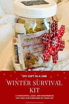 Winter Survival Kit (Gift-in-a-Jar) – Each Ordinary Moment Perfect teacher or hostess gift! Survival Kit Gifts, Survival Kit For Teachers, Teacher Survival, Survival Food, Survival Prepping, Survival Quotes, Survival Gadgets, Outdoor Survival, Diy Gifts In A Jar