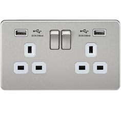 sf9902bcw 13 a 2gang screwless switched socket with dual usb charger brushed