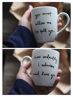 DIY mugs    1. Buy cups/mugs from Dollar Store  2. Write things with a Sharpie  3. Bake for 30 mins in the 350 oven and it's permanent!