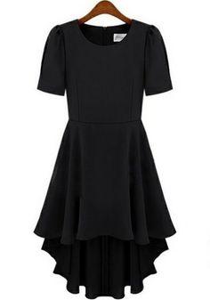 Black Irregular Swallowtail Pleated Collarless Thin Chiffon Dress