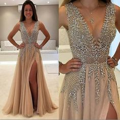Long v-Neck Split Side Prom Dresses with Appliques Beaded , Evening Dresses, Party Dresses