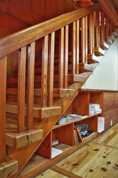 not a big fan of posts directly on treads.  Timber Frame Stairs | New Energy Works