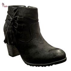 Angkorly - Chaussure Mode Bottine cavalier femme pom-pom frange Talon haut bloc 7 CM - Noir - 2306-1 T 41 - Chaussures angkorly (*Partner-Link)