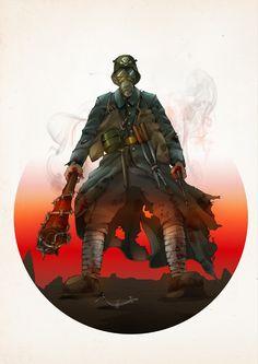 German stormtrooper WW I (illustration: Agnieszka Pakuła) https://www.behance.net/gallery/24643851/Uniform-Book