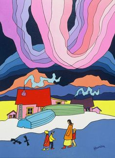"""Hanging Sky,"" a painting by Canadian artist Ted Harrison, is shown in a handout photo. (Ho/The Canadian Press)"