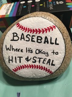 Could make a good baseball themed embroidery baseball crafts, baseball gear, baseball mom, Rock Painting Patterns, Rock Painting Ideas Easy, Rock Painting Designs, Pebble Painting, Pebble Art, Stone Painting, Baseball Crafts, Baseball Mom, Baseball Gear