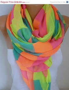 Rainbow Cotton Scarf Spring Summer Shawl Cowl by fatwoman on Etsy