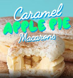 Cinnamon Macarons with a caramel frosting and apple pie centre French Macaroon Recipes, French Macaroons, Macaron Filling, Macaron Flavors, Lunch Room, Almond Recipes, Baking Ideas, Caramel Apples, Tray Bakes