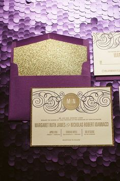 Purple & Gold Wedding Invitation, Gold Glitter Wedding Invite, Purple Invitation, Monogram - Deposit to Get Started