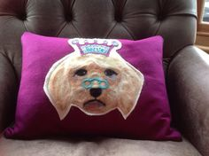 Pet portrait cushion cover by scampandhoney on Etsy Cushion Inserts, Cushion Covers, Love Your Pet, Pet Portraits, Needle Felting, Wool Felt, My Etsy Shop, Cushions, Throw Pillows