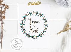 Joyeux Noel Merry Christmas wreath greeting card Digital Download #christmascard #holidayseason #joyeusnoel #christmasinfrench #chicchristmas #greetingcard