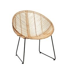 Lounge armchair in natural rattan with steel base by HÜBSCH. COLONEL shop, design and contemporary furniture in PARIS. Chaise Ikea, Ikea Chair, Swivel Chair, Eames Chairs, Bar Chairs, Office Chairs, Dining Chairs, Metal Chairs, Cool Chairs