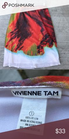 """VIVIENNE TAM COUTURE red skirt white print stretch Soooo cool! COUTURE and artistically bold and beautiful, this visual print skirt is by Vivienne TAM who designs fusion clothing for EAST-WEST culture. With hints of Chinese history, this stretch skirt has a mesh over-layer with a full liner underneath. 100% NYLON, SZ M. Waist measures from 12.5"""" and expands another 4"""" with ease. 23"""" long. True statement piece! (M4) Vivienne Tam Dresses Midi"""